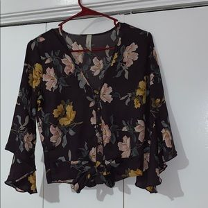 Button down crop top with bell sleeves